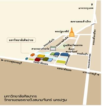 แผนที่ คณะมัณฑนศิลป์ มหาวิทยาลัยศิลปากร วิทยาเขตสนามจันทร์ นครปฐม