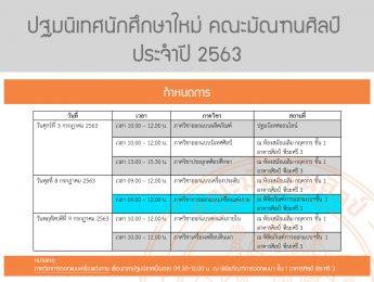 กำหนดการ ปฐมนิเทศนักศึกษาใหม่ คณะมัณฑนศิลป์ ประจำปี 2563  หมายเหตุ ภาควิชาการออกแบบเครื่องแต่งกาย เลื่อนเวลาและเปลี่ยนสถานที่ปฐมนิเทศ เป็นเวลา 09.30-12.00 น. ณ พิพิธภัณฑ์การออกแบบฯ ชั้น 1 อาคารศิลป์ พีระศรี 3