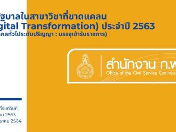 ทุนรัฐบาลในสาขาวิชาที่ขาดแคลน (Digital Transformation) ประจำปี 2563  (ทุนบุคคลทั่วไประดับปริญญา : บรรจุเข้ารับราชการ)